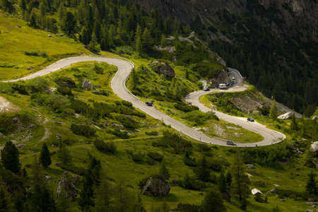 Road at the high mountain pass Falzarego photo
