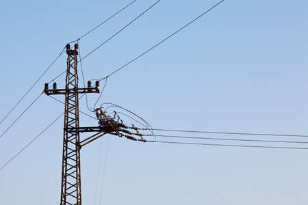 corrosion: Electric pillar against clear blue sky
