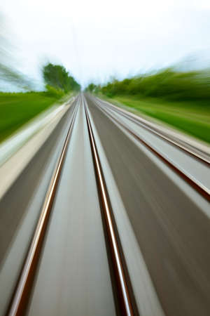 High speed blurred railway tracks photo
