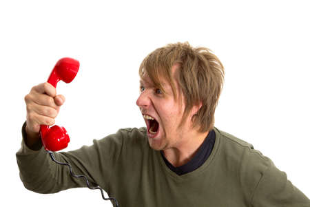 call out: Yelling in the telephone cal Stock Photo