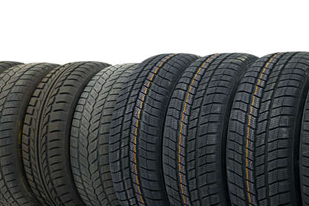 Row of car tyres photo
