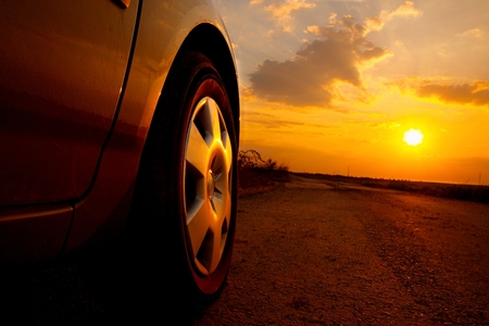 Coches detalle en la puesta de sol Foto de archivo - 27992221