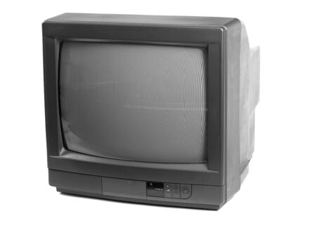 Small TV set isolated in white background