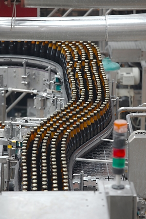 Beer bottles in the production line Imagens