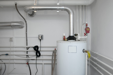Pipes of a heating system 版權商用圖片