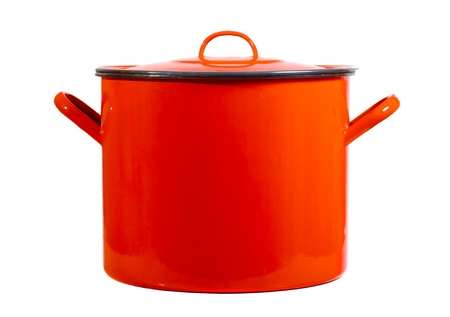 Red cooking pot isolated on white background Banque d'images