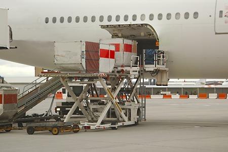Cargando contenedores de carga en un avión de pasajeros Foto de archivo - 49987038