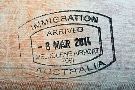 Australian passport stamp for entring the country Stock Photo