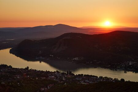 Sunrise over the river Danube