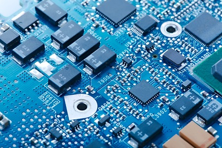 Circuit board with electronic components Archivio Fotografico