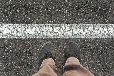 Not crossing the line concept Reklamní fotografie