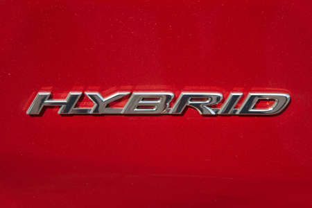 Hybrid designation on a car