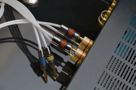 Hifi amplifier back with speaker wires