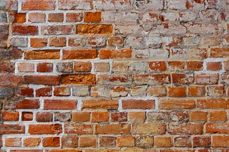 Bare brick wall texture, old, aged bricks