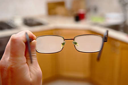 Glasses fogged with moisture after cold outside weather Stockfoto