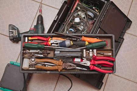 Box of tools. Appliance fixing toolbox for mechanic