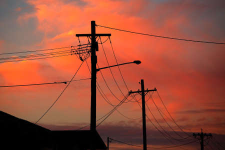 Electric line silhouettes Imagens