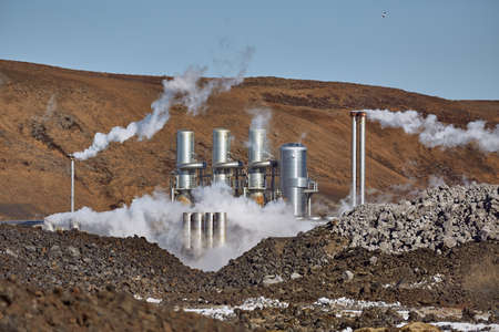 Geothermal power plant 스톡 콘텐츠