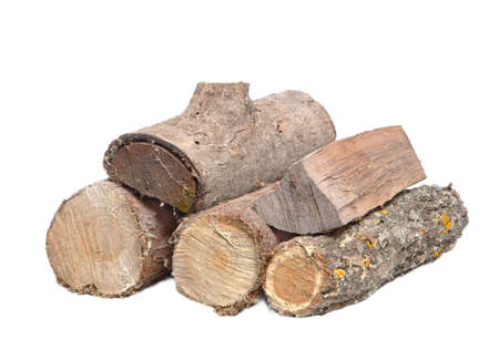 Log wood pile Stock Photo
