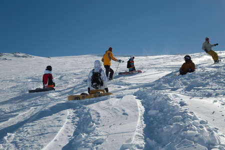 Skiing slopes in sunshine