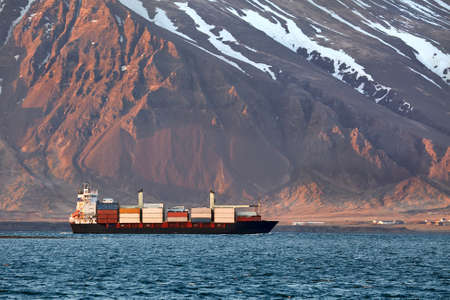 Container ship in Iceland