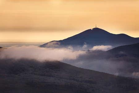 Mountains misty landscape 스톡 콘텐츠