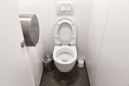 Toilet seat open Stock Photo