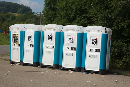 Toilets installed at a public event Editorial