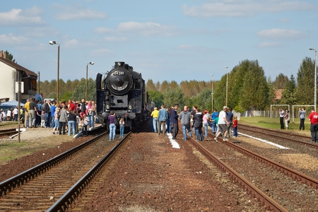 Steam locomotive at station