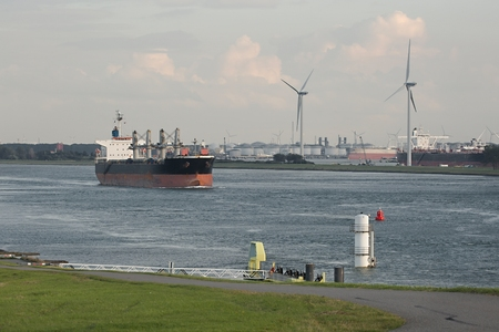 Industrial ship leaving Rotterdam 版權商用圖片