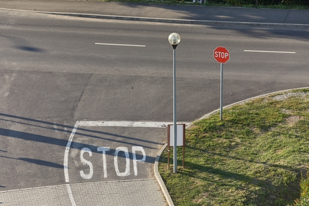 Stop sign at an intersection