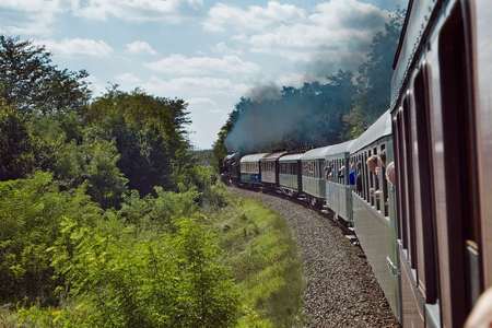 Train journey with steam locomotive Editorial