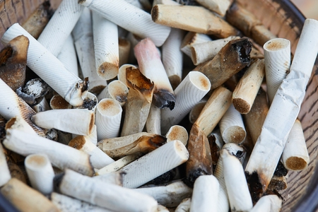 Cigarette buts in an ashtray