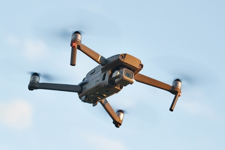 Drone flying outdoors