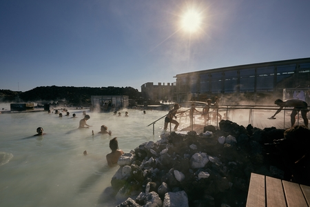 Thermal pool with hot water