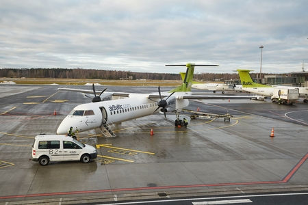 Airbaltic Airliner in RIga Editorial