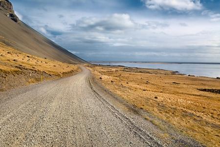 Gravel Road on Iceland Standard-Bild