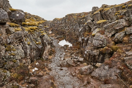 Thingvellir landscape in Iceland with rocky terrain