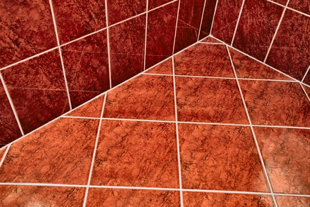 Tiled bathroom floor Standard-Bild