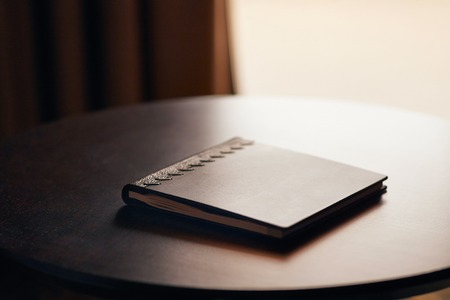 Book on a desk Stock Photo
