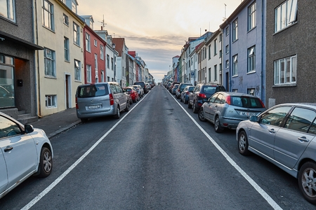 Townhouses in Reykjavik, Iceland Editorial