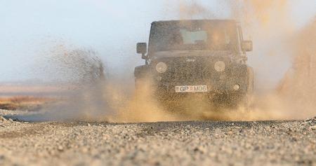 Jeep Wrangler on Icelandic terrain Editorial