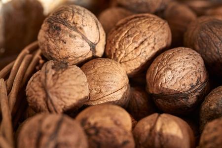 Walnuts in a pile Banco de Imagens - 128889532