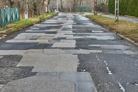 Patched broken road
