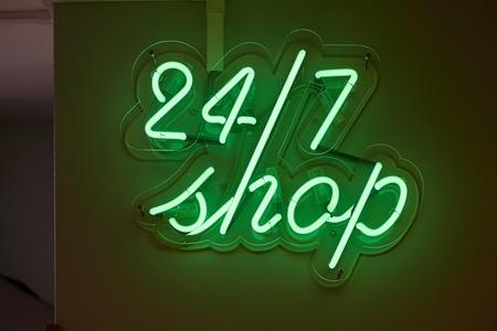 Twenty-four seven shop sign