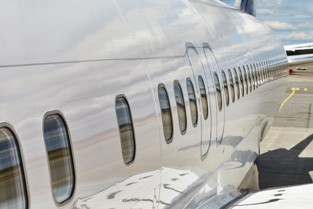 Airliner fuselage closeup