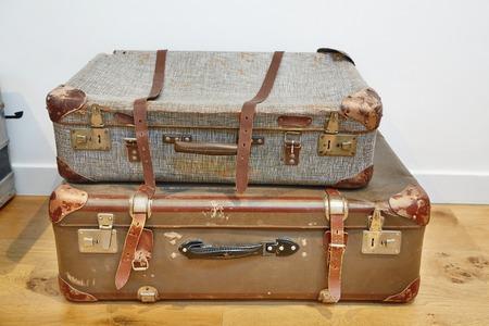 Vintage suitcases on the floor Stockfoto