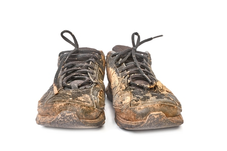 Dirty, muddy shoes