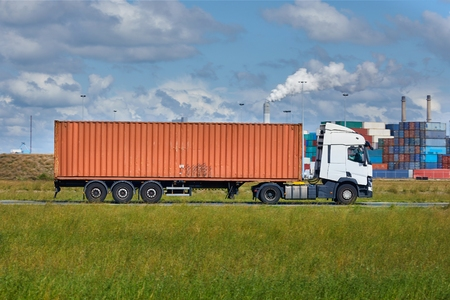 Cargo Truck With Container Stock Photo - 133409742
