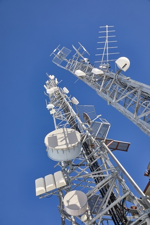 Transmitter towers, blue sky